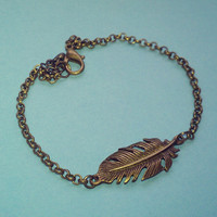 Feather Anklet - Antique Bronze Tone, Chain, Extendible