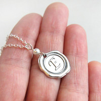 Wax Seal Necklace with White Pearl, Initial Personalized Jewelry, Monogrammed Alphabet Pendant, Stamped Necklace, Bridesmaid Gift Sterling