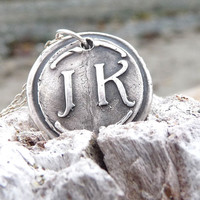 Wax seal necklace monogram pendant jewelry in first and last initials, custom made to order
