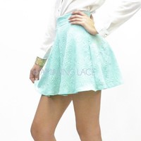 Boardwalk Dancing Mint Skater High Waist Skirt