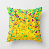 SPRING SPLASH - Bright Cheerful Lime Sunshine Yellow Lavender Lilac Purple Ocean Beach Waves Throw Pillow by EbiEmporium | Society6