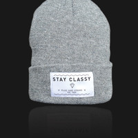 Plug and String Clothing  STAY CLASSY BEANIE | grey