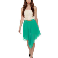 Cute Teal Skirt - High Low Hem Skirt - Asymmetircal Skirt - $34.00