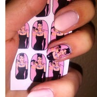 AUDREY HEPBURN Breakfast At Tiffany&#x27;s NAIL decals