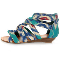 Bamboo Denisa 47 Blue Ikat Strappy Sliver Wedge Sandals - &amp;#36;25.00