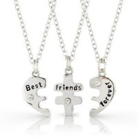 Amazon.com: Best Friends Forever three part necklace, friendship necklace includes beautiful gift bag for each necklace.: Kacie Lee: Jewelry