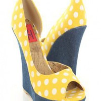 Yellow Canvas Polka Dot Peep Toe Denim Platform Wedges @ Amiclubwear Wedges Shoes Store:Wedge Shoes,Wedge Boots,Wedge Heels,Wedge Sandals,Dress Shoes,Summer Shoes,Spring Shoes,Prom Shoes,Women's Wedge Shoes,Wedge Platforms Shoes,floral wedges,Fashion Wedg