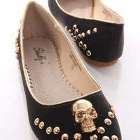 Black Faux Leather Skull Studded Flats