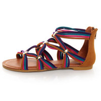 Bamboo Eartha 04 Chestnut Multi Strappy Flat Gladiator Sandals - $25.00