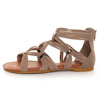 Bamboo Eartha 04 Taupe Super Strappy Flat Gladiator Sandals - &amp;#36;25.00