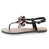 Qupid Athena 431 Black Bow'd T Strap Thong Sandals - $22.00