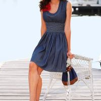 Round neck denim dress in the VENUS Line of Dresses for Women