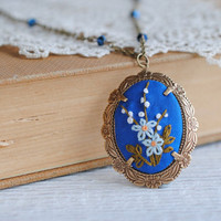 Blue Forget Me Not Necklace Embroidered Pendant by stoastn on Etsy