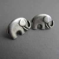 Baby Silver Elephant Stud Earrings