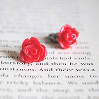 Red Rose Stud Earrings, Nickel Free, Flower | Luulla