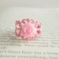 Flower Ring  Shabby Chic Pink  Country by theblackstarboutique