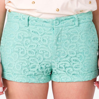 Cuffed Paisley Lace Shorts
