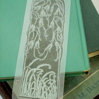 Dark Green Nouveau Nature Texture Handmade Printed Bookmark