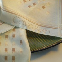 Designer Pale Green Vintage Silk Calvin Klein Scarf with Tan Motif