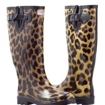 Amazon.com: Women's Leopard Design Rubber-boots Rainboots Hunting style (5): Shoes