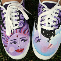 Sun Moon and Stars Space Purple Blue Swirls Original Custom Acrylic Painting for Canvas Shoes