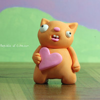 Orange Beast Figurine with Pink Heart - Original Polymer Clay Art Toy - Geeky Decoration for the Home or Office
