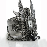 Gothic Steampunk Cuff Watch Angel Wings and by LeBoudoirNoir