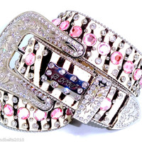 BHW CoWgiRl WeStErN 5 RoW ZeBrA PiNk PriSm CuT RhiNeStOnE LeAtHeR BeLt S-M-L-XL