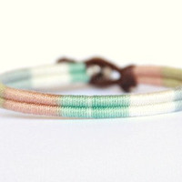 Infinity Woven Friendship Bracelet - Pastel Stripes and Gold Rhinestone