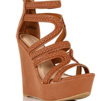 Chestnut Braided Gladiator Wedges