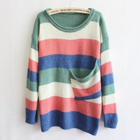 Green Collar Multicolor Striped Pocket Sweater