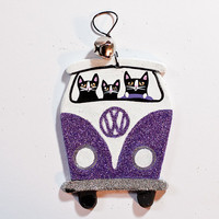 Purple Christmas Volkswagen Bus Clay Cat Folk Art Ornament