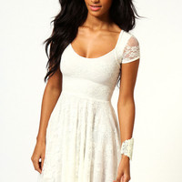 Caroline Cap Sleeve Lace Skater Dress
