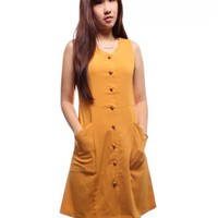 Scallop Pocket Button Dress ? Mustard
