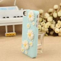 Nice Sky Blue Little Daisy Rhinestone Hard Cover Case For Iphone 4/4s