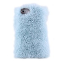 Cute Sky Blue Soft Fur Hard Cover Protective Case For Iphone 5