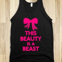 This Beauty Is A Beast Pink-Unisex Black Tank