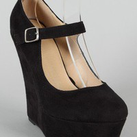 Delicious Kayla-S Mary Jane Platform Wedge