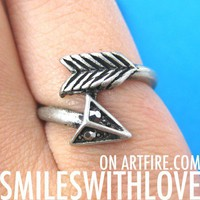 SALE - Arrow Wrap Around Feather Ring in Silver - Size 6 and 7 ONLY from Dotoly Love
