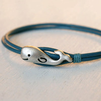 Whale Leather  Bracelet (12 colors of leather cord to choose)