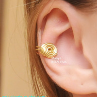 Cartilage ear cuff Gold Color Wire Rose - tarnish resistant wire.