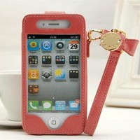 cute Leather bowknot chain case for iphone4/4s