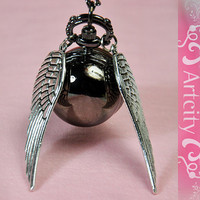 Harry Potter Black Snitch Watch Necklace with Silve by ArtCity2011