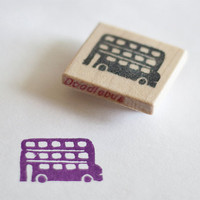 Tripple Decker Purple Bus Hand Carved Stamp by doodlebugdesign