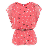 Coral Bird Print Belted Peplum Top