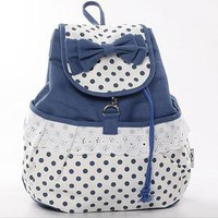 Bestgoods —  Cute Bowknot Lace Blue Backpack