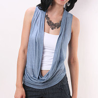 Crop Cowl Vest | Blue Vest | Cowl Vest | Trendy Vest | Casual Vest | Cowl Top | Trendy Clothes at pinkice.com