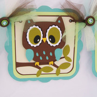 Gender neutral owl baby shower banner, oh baby, green, teal and brown READY TO SHIP