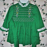 Toddlers Green Dress Hand Smocked by Carrousel Size 4