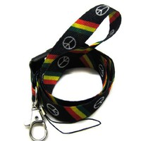 Lanyard Key Strap Id Holder Slant Rasta Peace